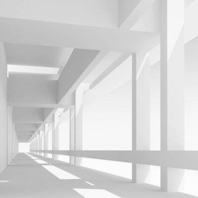 Fototapeta Prázdná bílá chodba perspektiva, 3d ilustrační