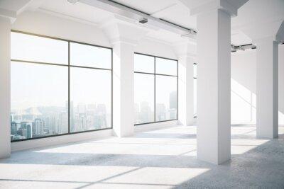 Fototapeta Prázdné bílé podkroví interiér s velkými okny, 3d render