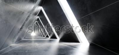 Fototapeta Prázdné dlouhé světlo leštěné betonové moderní sci-fi futuristické trojúhelník ve tvaru stavební tunel koridor 3d vykreslování ilustrace  t