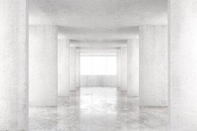 Fototapeta Prázdné místnosti s betonovými stěnami, betonové podlahy a velké okno, 3