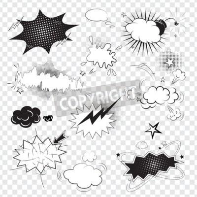 Fototapeta Prázdný textový komická černá bubliny ve stylu pop art