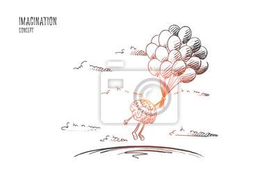 Fototapeta Představa představivosti. Ručně tažené mozky létající balónky. Létání mozku jako symbol představivosti izolované vektorové ilustrace.