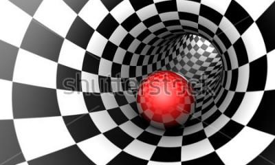 Fototapeta Předurčení. Červený míč v šachovém tunelu (koncept obrázek). Prostor a čas. 3D ilustrace. K dispozici ve vysokém rozlišení a několika velikostech, aby vyhovovaly potřebám vašeho projektu.