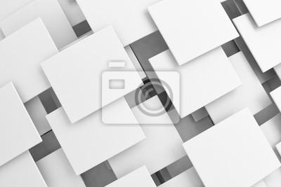 Fototapeta Překrývající se bílé čtverce 3d vzor