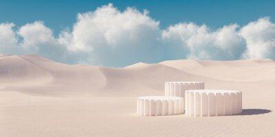 Fototapeta Premium minimal product podium with architecture columns on sand dunes. 3d rendering cosmetic podium background.