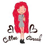 Přestávka ilustrace s cute pink head dívka drží šálek kávy b2be31acf5