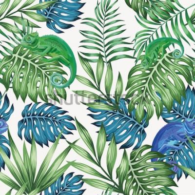 Fototapeta Přírodní chameleon exotické modré a zelené tropické listy bezešvé vzor na bílém pozadí vektor
