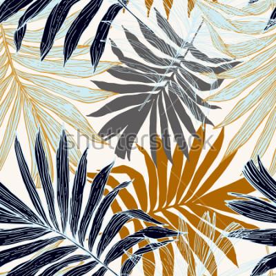 Fototapeta Přírodya bezešvé vzor. Ručně barevné abstraktní letní letní pozadí: listy palmy v siluetu, linka umění. Vektorové ilustrace umění v zlaté retro barvy