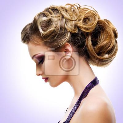 Fototapeta Profil portrét ženy s módní účes