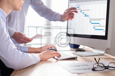 Fototapeta Projektový tým aktualizuje plán nebo plánování v oblasti počítačů, podnikání
