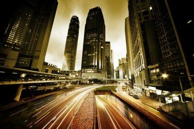Fototapeta provoz v Hongkongu při západu slunce