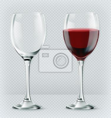Fototapeta Průhledné sklo na víno. Prázdné a plné. 3d realismus, vektorové ikony