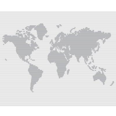 Fototapeta pruhované linie mapa světa vektorové šablony