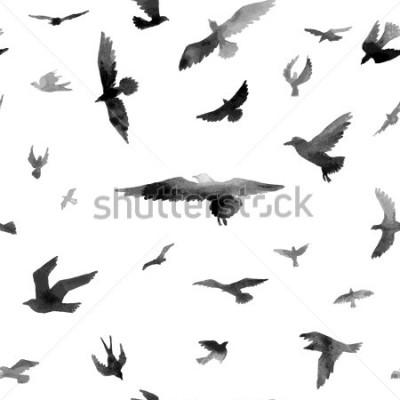 Fototapeta Ptáci. Akvarel bezproblémové vzorek. Rastrov ilustrace.