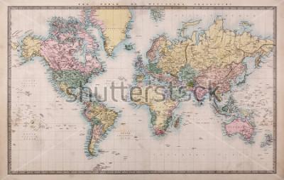 Fototapeta Původní ručně zbarvená mapa světa na projektech Mercators kolem roku 1860, země jsou pojmenovány tak, jak byly, tj. Persie, Arabia atd. Několik skvrn, jak se očekávalo pro mapu starších 150 let.