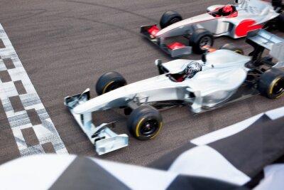 Fototapeta Race cars at finish line on track