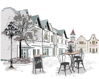 Fototapeta Řada pouličních kaváren ve starém městě
