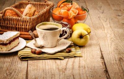 Fototapeta Ráno snídaně s kávou a ovocem