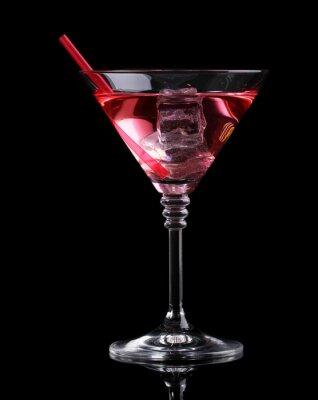 Fototapeta Red koktejl v sklenka martini na černém