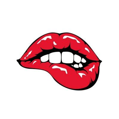 Fototapeta Red lips biting icon on white background.