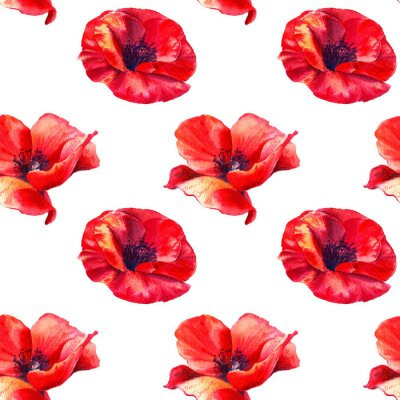 Fototapeta Red poppies on a white background. Floral seamless pattern with big bright flowers.Summer watercolour illustration for print textile,fabric,wrapping paper.