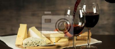 Fototapeta Red Wine and cheese board