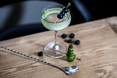 Fototapeta Refreshing classic summer cocktail with cucumber and blueberries garnish