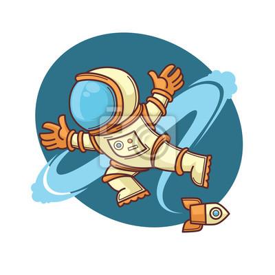 Retro Astronaut Ve Vesmiru Kreslene Vektorove Ilustrace Fototapeta