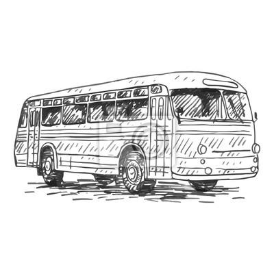 Retro Autobus Obrazek Vintage Doprava Stare Casy Vector Rucne