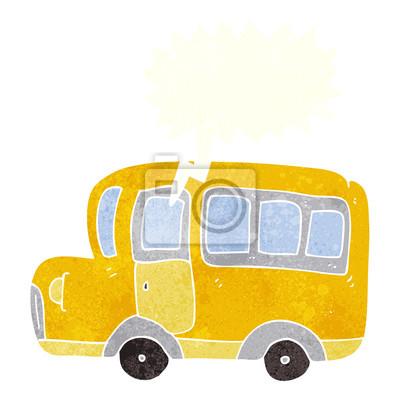 Retro Bublinu Kresleny Zluty Skolni Autobus Fototapeta Fototapety