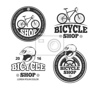 Fototapeta Retro cyklistický obchod logo nastaven. Etikety a štítky pro  sportovní cyklistický obchod. Emblémy 7ac828d52e