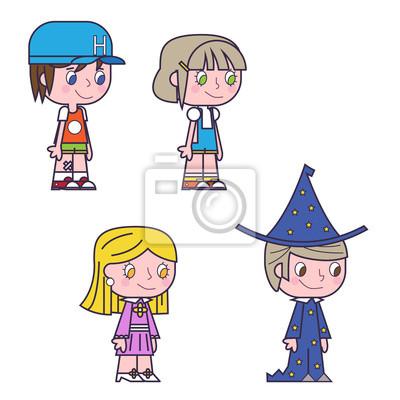 Retro Kresleny Deti Deti Chlapci A Divky Ikony Vektor Fototapeta