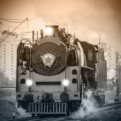 Fototapeta Retro ruština parní lokomotiva.