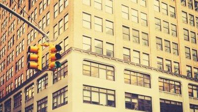 Fototapeta Retro stylizované fotografie semaforů v New Yorku, malou hloubkou ostrosti.