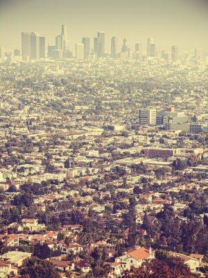 Fototapeta Retro stylizovaný Letecký pohled na Los Angeles vidět skrz smog, USA