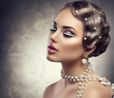 Fototapeta Retro stylu make-up s perlami. Krásná mladá žena portrét