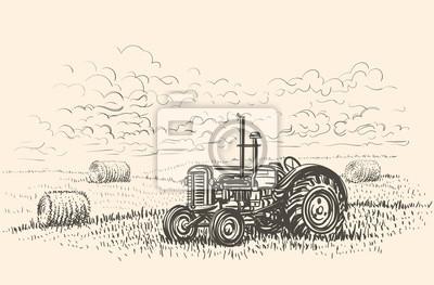 Retro Traktor V Poli Rucne Kreslene Ilustrace Vektor Fototapeta
