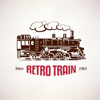 Fototapeta retro vlak, vinobraní vektor symbol, symbol, šablona štítek