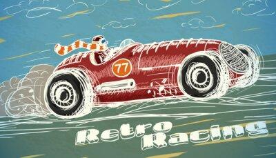 Fototapeta Retro závodní auto plakát
