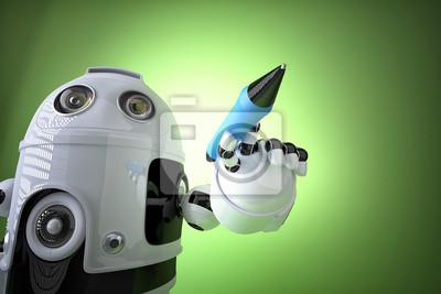 Robot Psani Kresleni Na Obrazovku Obsahuje Orezove Cesty