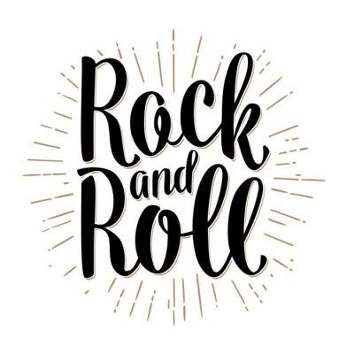 Fototapeta Rock and Roll nápis s paprsky. Vintage vektor