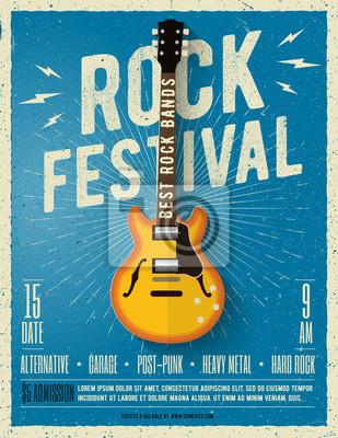 Fototapeta Rock music festivalový leták. Vektorové ilustrace.