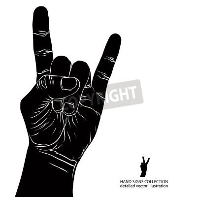 Fototapeta Rock na ručním znamení, rock n roll, hard rocku, heavy metal, hudba, podrobný černé a bílé vektorové ilustrace.