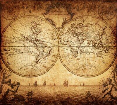 Fototapeta ročník mapa světa 1733