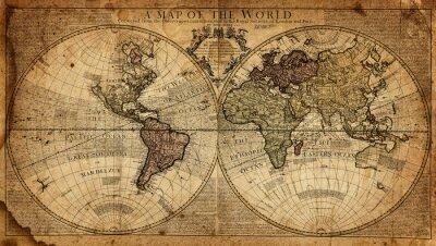 Fototapeta ročník mapa světa
