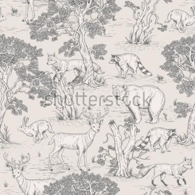 Fototapeta ročník vektorové ilustrace bezproblémové ilustrační ilustrace volně žijících zvířat v lese