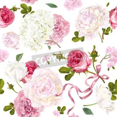 Fototapeta Romantic garden flowers pattern