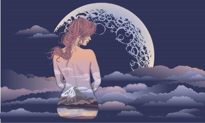 Fototapeta Romantická dívka sedí na pozadí měsíce. Dívka těla umění, tělo malované scenérií. Romantická dívka na pozadí měsíce a hvězdné tetování a designu trička. žena sedící v th