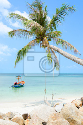 5b2d9146bc1 Romantická pláž s palmou a houpačkou fototapeta • fototapety těšit ...