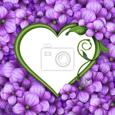 Fototapeta romantický květinový srdce rám, Valentýnské pozadí